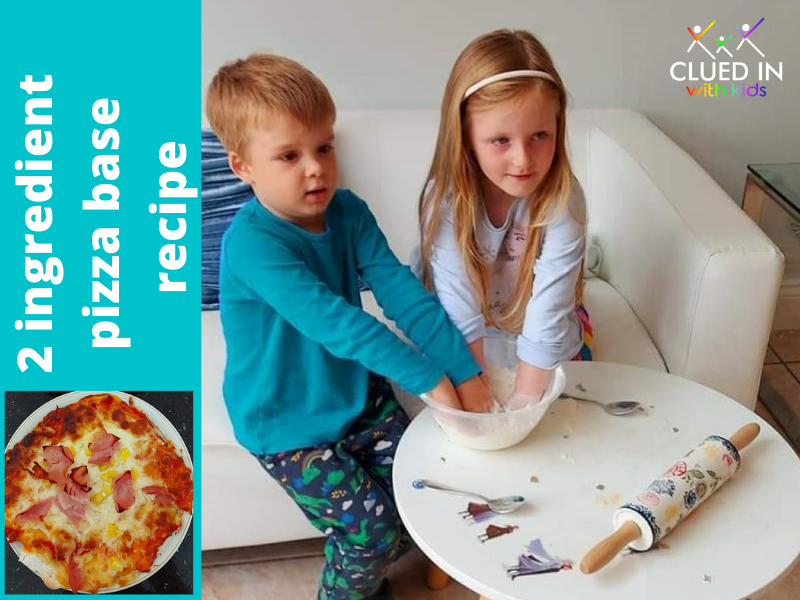 Two ingredient pizza base - Easy kids home made pizza recipe